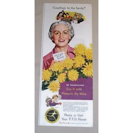 1954 FTD Florist Color Print Ad - Greeting To The Family