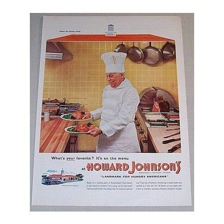 1955 Howard Johnson's Restaurants Cook Color Print Ad