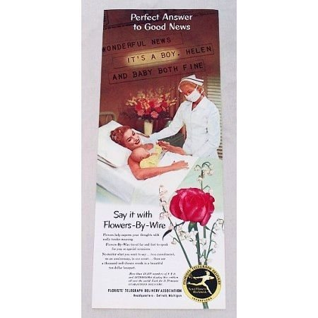 1953 FTD Florist Color Print Ad - Perfect Answer To Good News