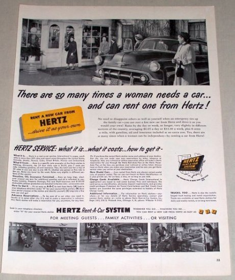 1953 Hertz Car Rental Business Print Ad