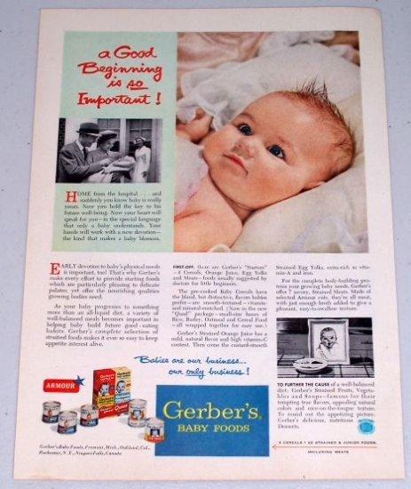 1954 Gerber's Baby Food Vintage Color Print Ad