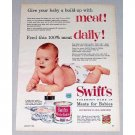 1955 Swift's Meat For Babies Color Print Ad - Give Baby Build-Up
