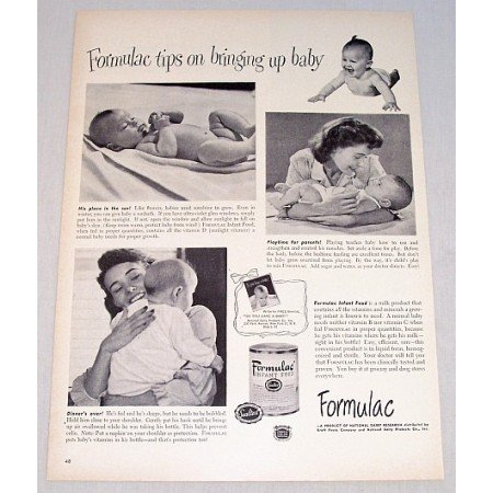 1948 Formulac Infant Food Print Ad - Tips On Bringing Up Baby