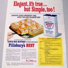 1950 Pillsbury's Best Flour Quick-Mix Peach Meringue Cake Recipe Color Print Ad