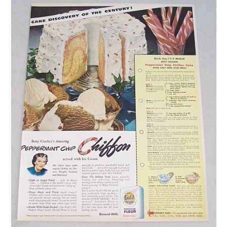 1949 Gold Medal Flour Peppermint Chip Cake Recipe Color Print Ad