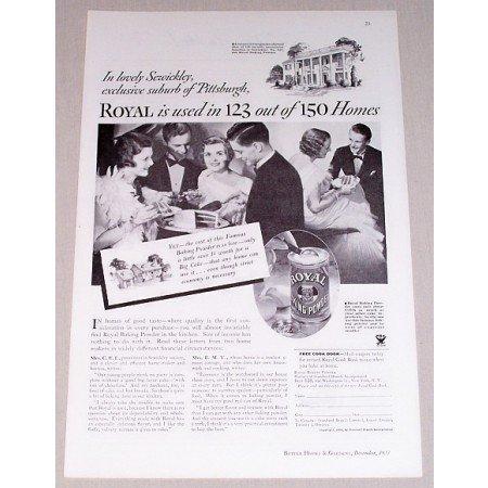 1933 Royal Baking Powder Print Ad - Royal Is Used In 123 of 150 Homes