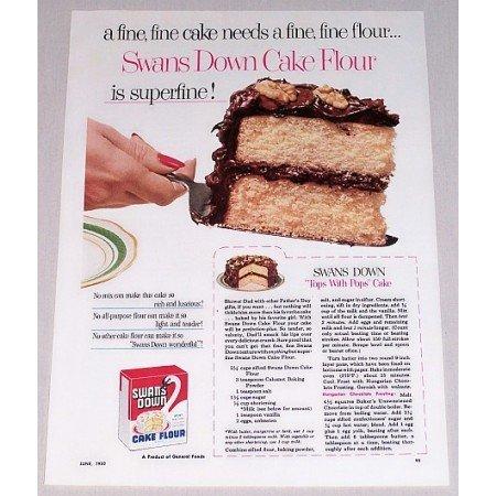 1952 Swans Down Cake Flour Color Print Ad