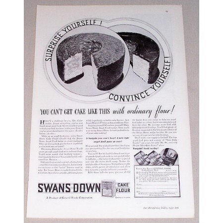 1932 Swans Down Cake Flour Print Ad - Suprise Yourself!