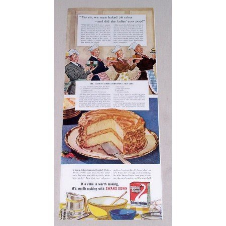 1942 Swans Down Cake Flour Color Print Ad