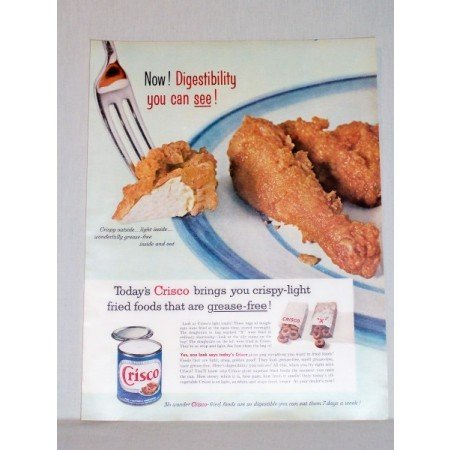 1957 Crisco Shortening Color Print Ad - Fried Chicken