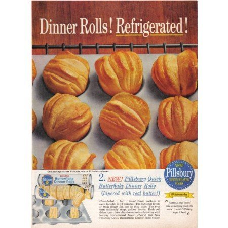 1960 Pillsbury Butterflake Dinner Rolls Color Print Ad