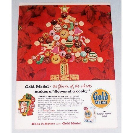 1956 Gold Medal Flour Color Print Ad - Flower Of A Cooky