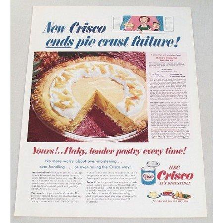 1953 Crisco Shortening Pineapple Chiffon Pie Recipe Color Print Ad