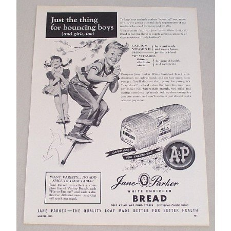 1955 A&P Jane Parker White Bread Kids Pogo Stick Art Print Ad