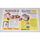 1953 Gold Medal Flour Wesson Golden Puffs Recipe 2 Page Color Print Ad