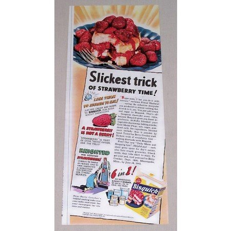 1942 Bisquick Color Print Ad - Slickest Trick Of Strawberry