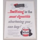 1953 Swift's Swift'ning Shortening Color Print Ad - Most Digestible