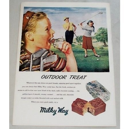 1948 Milky Way Candy Bar Color Golf Art Print Ad