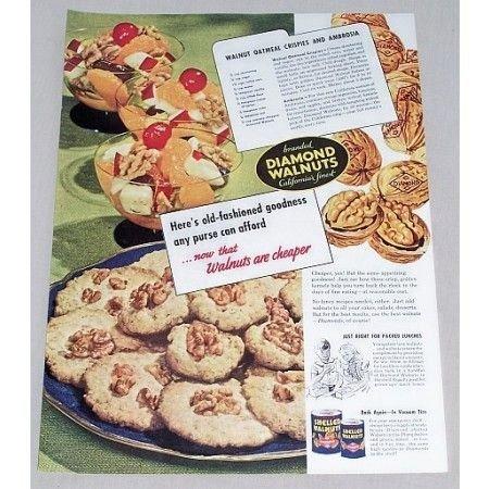 1947 Diamond Walnuts Oatmeal Crispies Recipe Color Print Ad