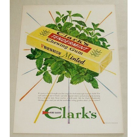 1948 Clark's Tendermint Chewing Gum Color Print Ad