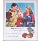 1945 Milky Way Candy Bar Color Print Ad - Taste Treat For All