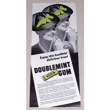 1939 Wrigley's Doublemint Chewing Gum Print Ad