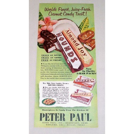 1952 Peter Paul Mounds Almond Joy Candy Bar Color Print Ad