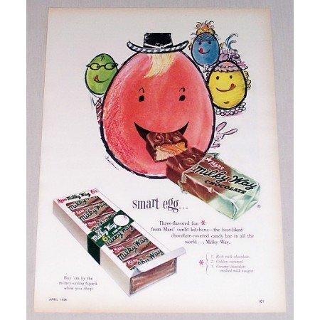 1954 Milky Way Chocolate Bar Egg Art Color Print Ad - Smart Egg