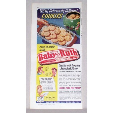 1942 Baby Ruth Candy Bar Cookie Recipe Color Print Ad