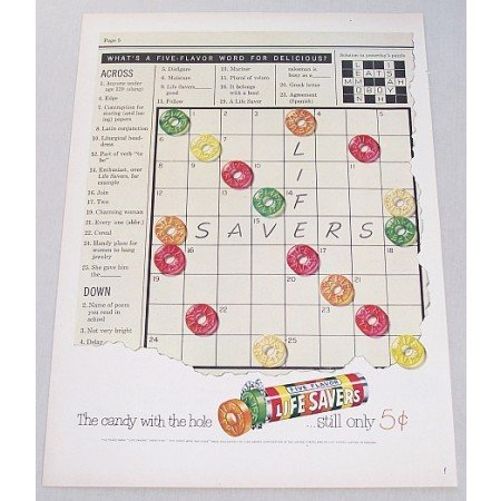 1951 Life Savers Candy Crossword Puzzle Art Color Print Ad