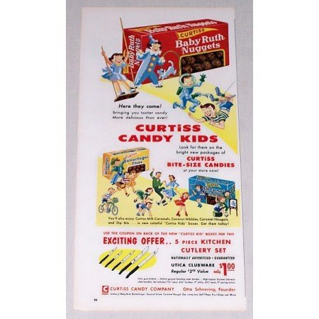 1955 Curtiss Baby Ruth Nuggets Butterfinger Candy Color Print Ad