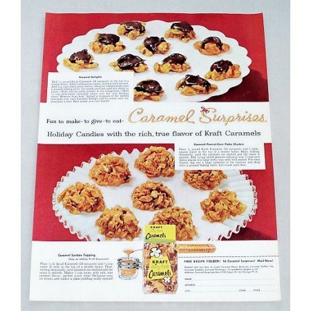 1956 Kraft Caramels Candy Caramel Delights Recipe Color Print Ad