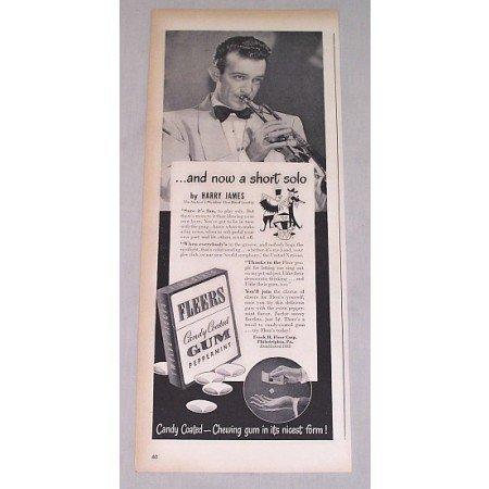 1946 Fleers Gum Print Ad Celebrity Bandleader Harry James
