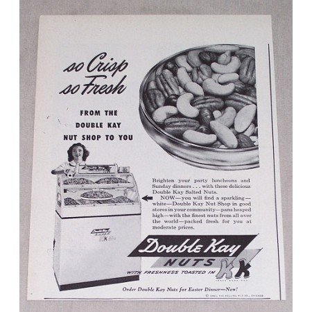 1946 Double Kay Nuts Print Ad - So Crisp So Fresh