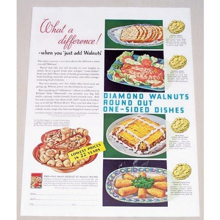 1938 Diamond Walnuts Color Print Ad - What A Difference!