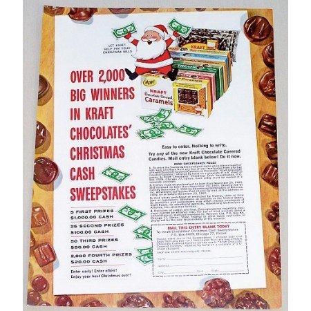 1963 Kraft Chocolate Covered Caramel Color Christmas Ad