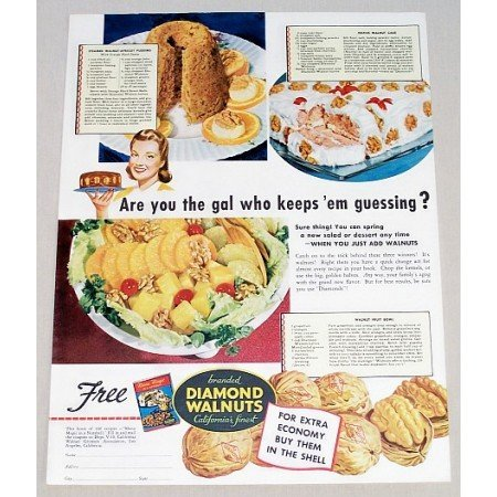 1942 Diamond Walnuts Color Print Ad - Are You The Gal Who Keeps'em Guessing?