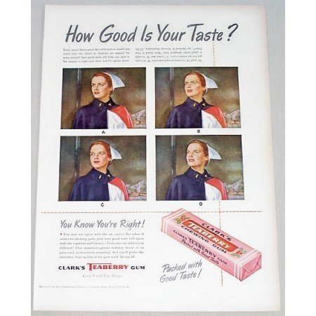1947 Clark's Teaberry Chewing Gum Color Print Ad - How Good Is Your Taste?