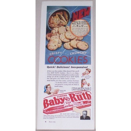 1942 Curtiss Baby Ruth Candy Bar Cookie Recipe Color Print Ad