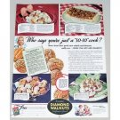 1941 Diamond Walnuts Color Print Ad - Just A So-So Cook?