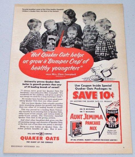 1953 Quaker Oats Cereal Vintage Breakfast Food Print Ad