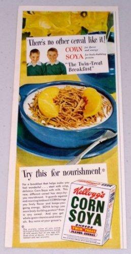 1949 Kellogg's Corn Soya Shreds Cereal Color Food Print Ad