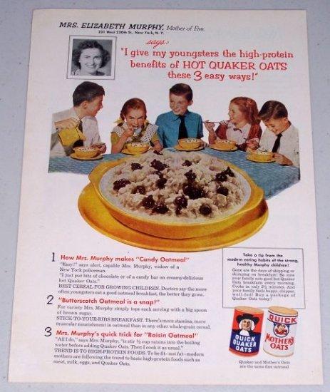 1954 Quaker Oats Oatmeal Cereal Color Food Print Ad Mrs. Elizabeth Murphy