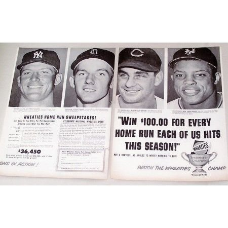 1956 Wheaties Cereal Ad Baseball Celebrities Willie Mays Mickey Mantle Al Kaline Ted Kluszewski
