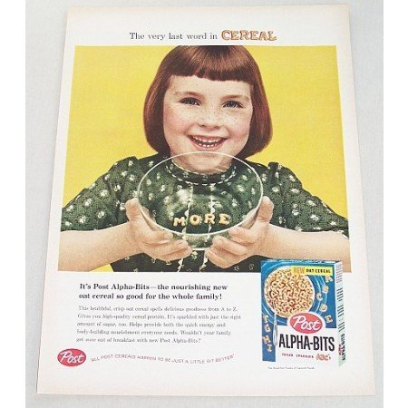 1958 Post Alpha-Bits Cereal Color Print Ad - Very Last Word