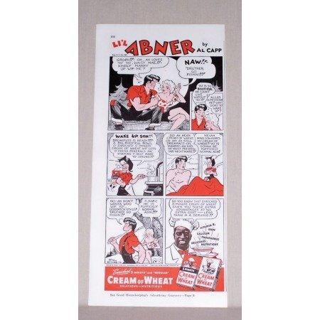 1942 Cream Of Wheat Li'l Abner Comic Al Capp Art Color Print Ad