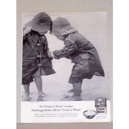 1957 Quick Cream Of Wheat Print Ad - Kids In Raincoats
