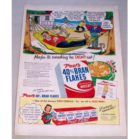 1950 Post's Bran Flakes Cereal Cartoon Art Color Print Ad