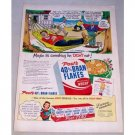 1950 Post's Bran Flakes Cereal Cartoon Art Color Print Ad