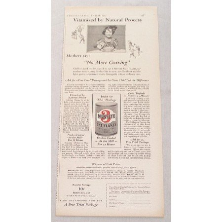 1929 Three 3 Minute Oat Flakes Print Ad - No More Coaxing